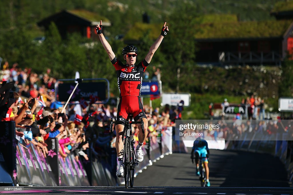 Ben Hermans of Belgium and the BMC Racing Team celebrates winning stage three of the 2015 Arctic Race of Norway, a 183km stage between Finnsnes and Malselv, on August 15, 2015 in Malselv, Norway.