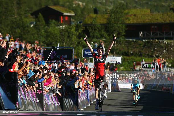 Ben Hermans of Belgium and the BMC Racing Team celebrates winning stage three of the 2015 Arctic Race of Norway a 183km stage between Finnsnes and...