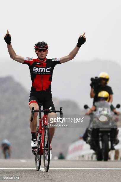 Ben Hermans of Belgium and the BMC Racing team celebrates winning stage two of the 8th Tour of Oman a 1455km road stage from Nakhal to Al Bustan on...