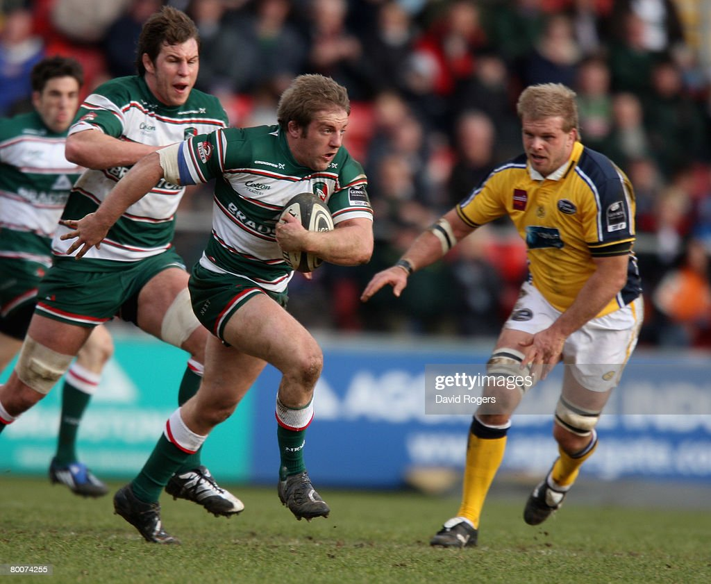 Ben Herring of Leicester charges upfield during the Guinness Premiership match between Leicester Tigers and Leeds Carnegie at Welford Road on March 1, 2008 in Leicester, England.