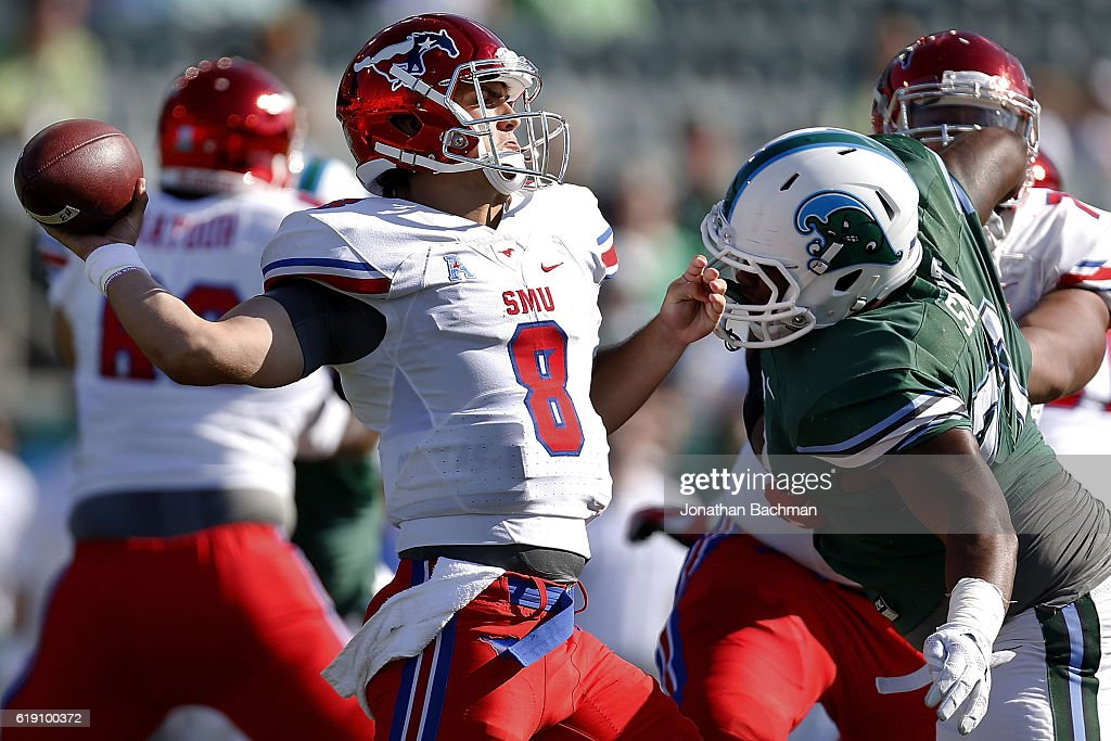 Ben Hicks #8 of the Southern Methodist Mustangs throws the ball during the first half of a game against the Tulane Green Wave at Yulman Stadium on October 29, 2016 in New Orleans, Louisiana.