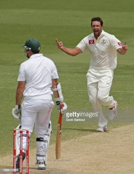 Ben Hilfenhaus of Australia celebrates after dismissing Graeme Smith of South Africa during day four of the Second Test Match between Australia and...
