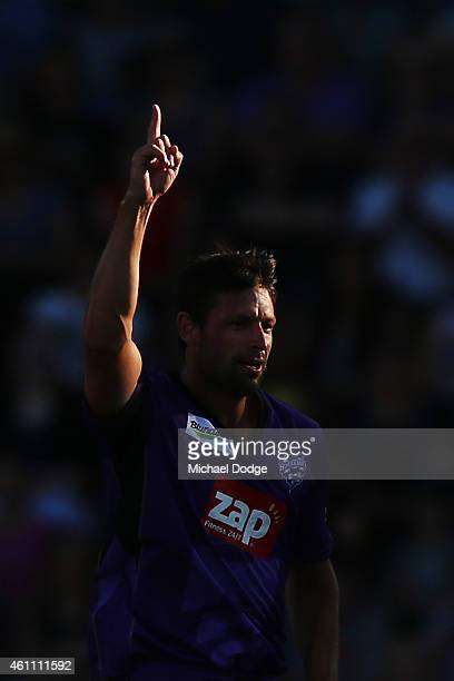 Ben Hilfenhaus of the Hurricanes celebrates the wicket of Aaron Finch of the Renegades during the Big Bash League match between the Hobart Hurricanes...