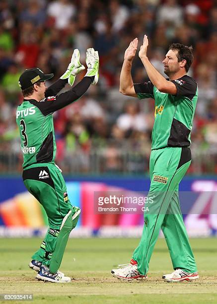 Ben Hilfenhaus of the Stars celebrates after claiming the wicket of Aiden Blizzard of the Thunder during the Big Bash League match between the Sydney...