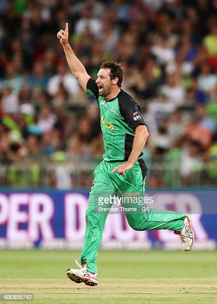 Ben Hilfenhaus of the Stars celebrates after claiming the wicket of Shane Watson of the Thunder during the Big Bash League match between the Sydney...