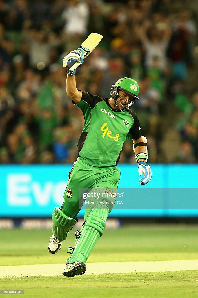 Ben Hilfenhaus of the Stars celebrates after hitting the winning run during the Big Bash League match between the Melbourne Stars and the Adelaide Strikers at Melbourne Cricket Ground on January 10, 2017 in Melbourne, Australia.