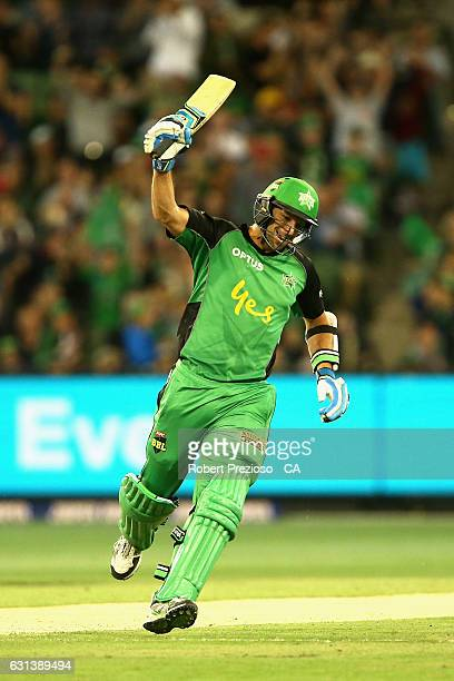 Ben Hilfenhaus of the Stars celebrates after hitting the winning run during the Big Bash League match between the Melbourne Stars and the Adelaide...