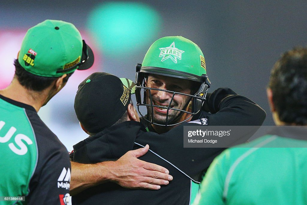 Ben Hilfenhaus of the Stars celebrates after hitting the winning runs during the Big Bash League match between the Melbourne Stars and the Adelaide Strikers at Melbourne Cricket Ground on January 10, 2017 in Melbourne, Australia.