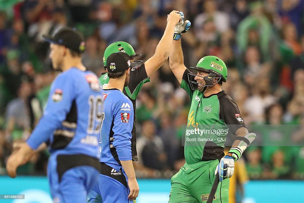 Ben Hilfenhaus of the Stars celebrates after hitting the winning runs during the Big Bash League match between the Melbourne Stars and the Adelaide Strikers at the Melbourne Cricket Ground on January 10, 2017 in Melbourne, Australia.