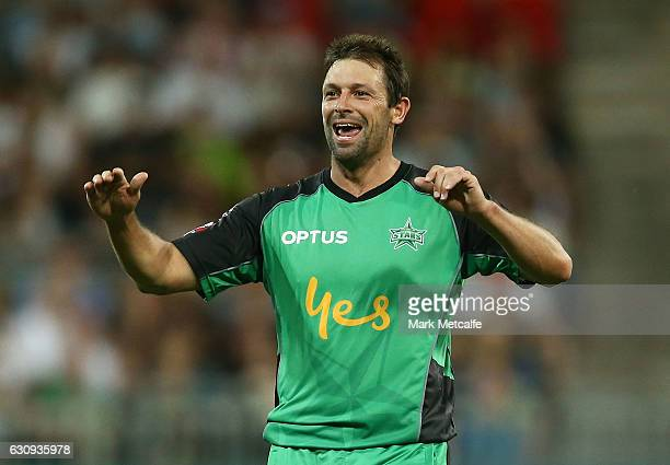 Ben Hilfenhaus of the Stars celebrates taking the wicket of Shane Watson of the Thunder during the Big Bash League match between the Sydney Thunder...