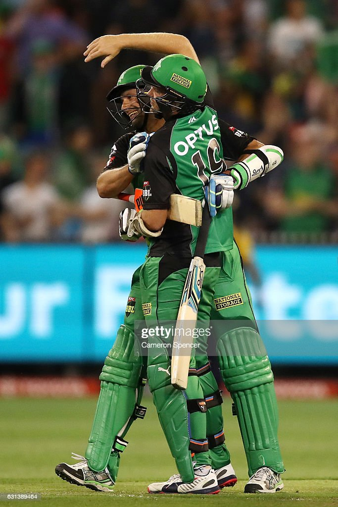 Ben Hilfenhaus of the Stars is congratulated by team mate Michael Beer after hitting the winning runs during the Big Bash League match between the Melbourne Stars and the Adelaide Strikers at Melbourne Cricket Ground on January 10, 2017 in Melbourne, Australia.