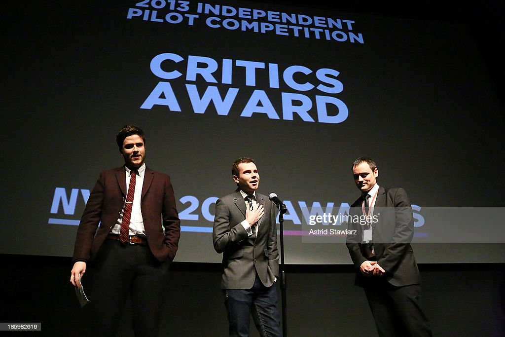 Ben Hillyar and David Mayes accept the NYTVF Critics award for 'Killer Moves' during the awards ceremony at the 9th Annual New York Television festival at SVA Theater on October 26, 2013 in New York City.