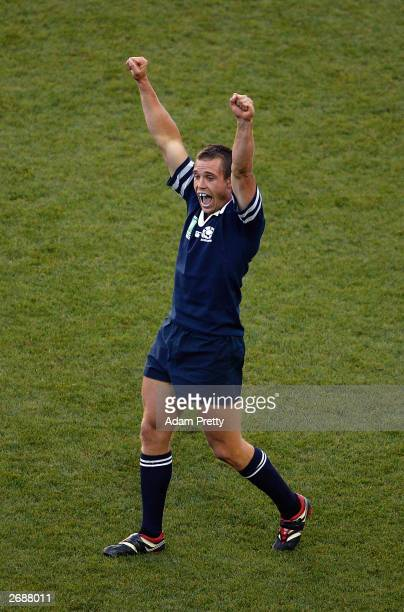 Ben Hinshelwood of Scotland celebrates victory after the Rugby World Cup Pool B match between Scotland and Fiji at Aussie Stadium November 1 2003 in...