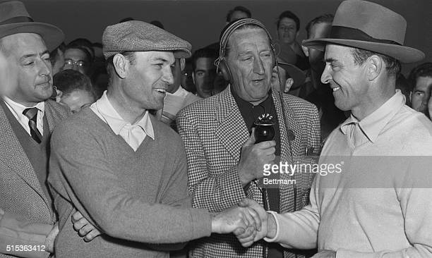 Ben Hogan congratulates Sammy Snead after Snead won four up over Hogan in the final goaround of the 24th Los Angeles Open Golf tournament Announcer...