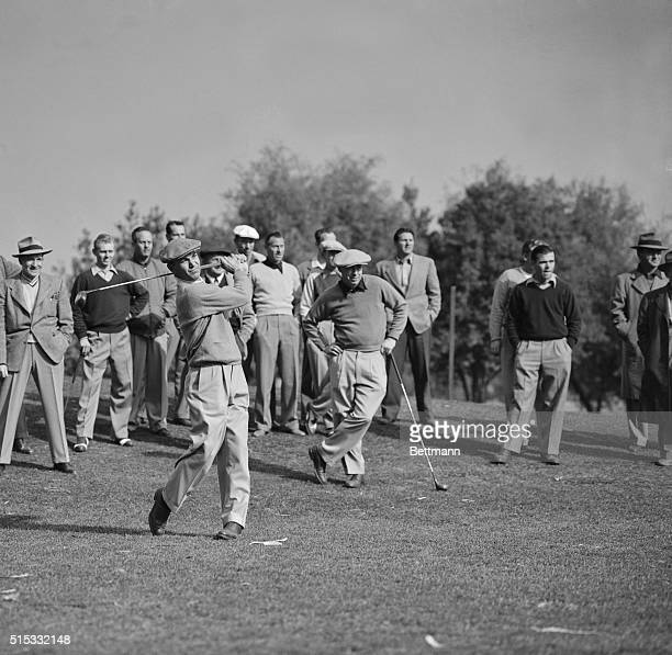 Ben Hogan follows through during his golfing comeback at the Riviera Club. Hogan, who nearly died in a highway accident a year ago, came back to the...