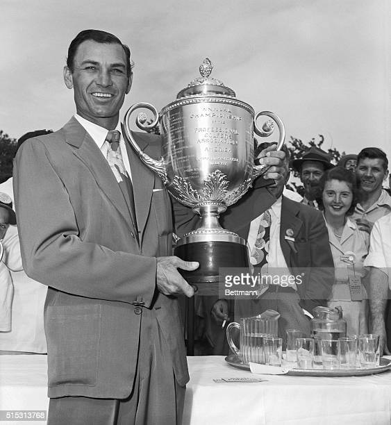 Ben Hogan holds the PGA Trophy he won at the Norwood Hills Country Club Tourney He beat Mike Turnesa in the final round to win the coveted cup