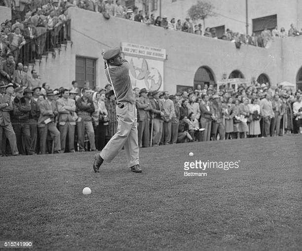 Ben Hogan, of Hershey, Pennsylvania, drives off from the clubhouse tee in the second round of the 22nd annual Los Angeles $10,000 Open Golf...