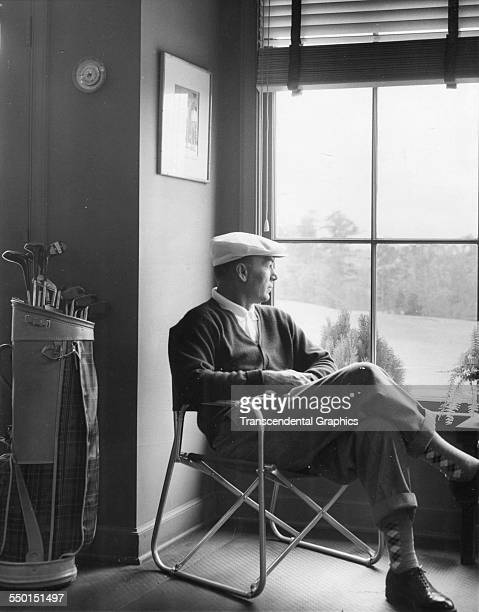Ben Hogan takes a moment to reflect before the start of the Masters Golf Tournament at the National Gold Club Augusta Georgia April 1 1954