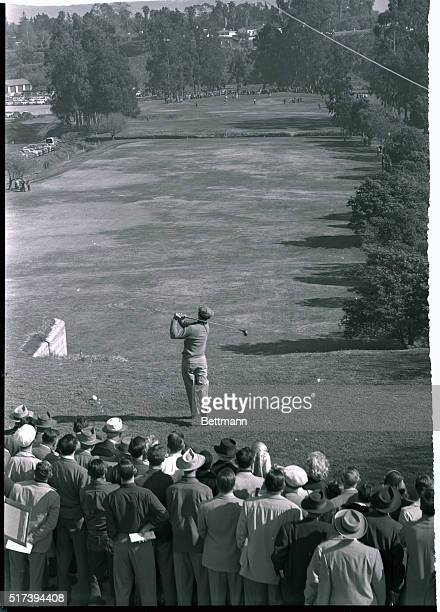 Ben Hogan tees off on the first hole in the round of the 24th annual Los Angeles Open Golf Tournament on Jan. 9. In the final round on Jan. 10, he...