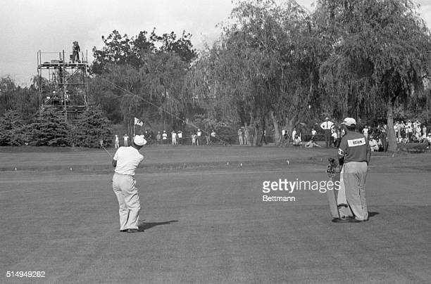 Ben Hogan who was in contention all the way in seeking his 5th US Open title met difficulty on the 17th hole on June 18 1960 Here Hogan's ball heads...
