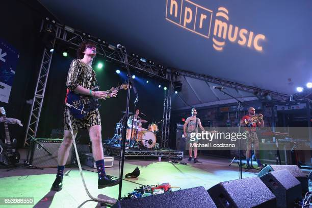 Ben Hopkins and Liv Bruce of PWR BTTM perform at the NPR showcase during 2017 SXSW Conference and Festivals at Stubbs on March 15 2017 in Austin Texas