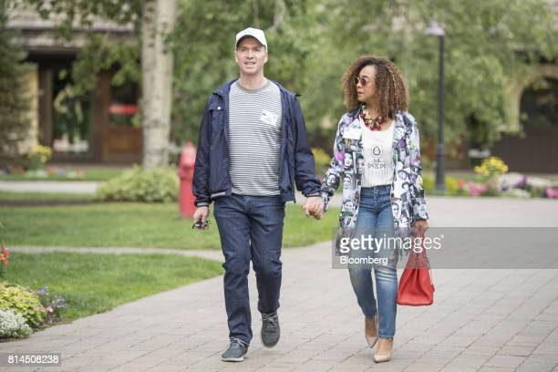 Ben Horowitz cofounder and general partner of Andreessen Horowitz left arrives with his wife Felicia Horowitz for the morning sessions during the...