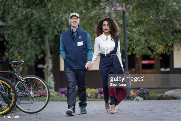 Ben Horowitz cofounder and partner of Andreessen Horowitz left and Felicia Horowitz arrive for a morning session at the Allen Co Media and Technology...