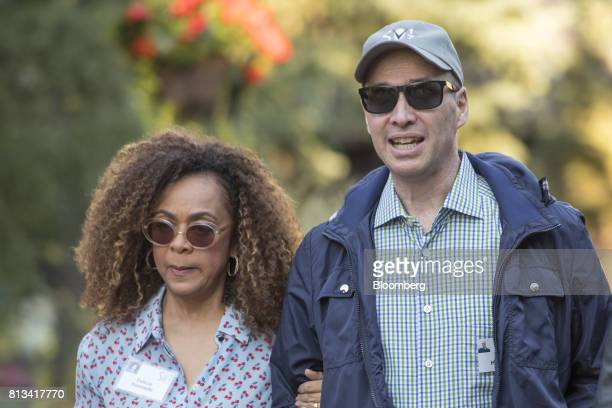 Ben Horowitz cofounder and partner of Andreessen Horowitz right and wife Felicia Horowitz arrive for a morning session during the Allen Co Media and...