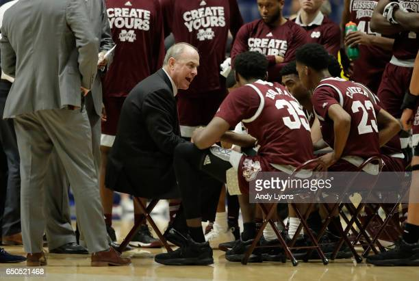 Ben Howland the head coach of the Mississippi State Bulldogs gives instructions to his team against the Alabama Crimson Tideduring the second round...
