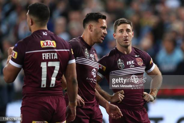 Ben Hunt and Corey Norman of the Maroons look dejected after defeat in game three of the 2019 State of Origin series between the New South Wales...