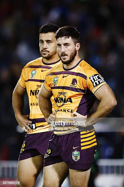 Ben Hunt and Jordan Kahu of the Broncos look on during the round 13 NRL match between the New Zealand Warriors and the Brisbane Broncos at Mt Smart...