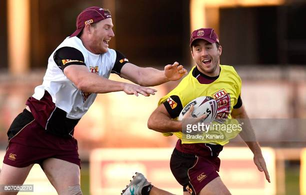 Ben Hunt breaks away from the defence during a Queensland Maroons State of Origin training session at Langlands Park on July 4 2017 in Brisbane...