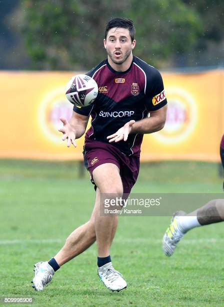 Ben Hunt in action during a Queensland Maroons State of Origin training session at Sanctuary Cove on July 7 2017 in Brisbane Australia