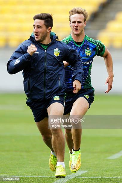 Ben Hunt is chased by Daly CherryEvans during an Australian Kangaroos training session at Westpac Stadium on November 14 2014 in Wellington New...