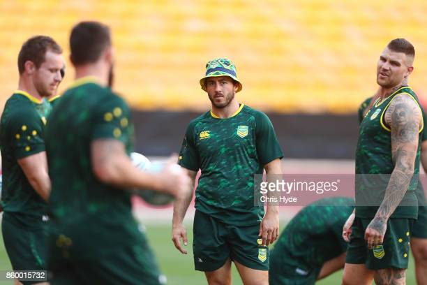 Ben Hunt looks on during an Australian Kangaroos Rugby League World Cup training session at Suncorp Stadium on October 11 2017 in Brisbane Australia