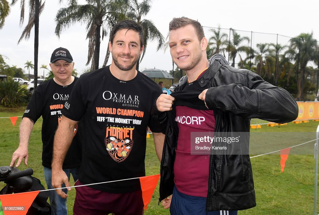 Ben Hunt meets with WBO Welterweight Boxing world champion Jeff Horn during a Queensland Maroons State of Origin training session at Sanctuary Cove on July 7, 2017 in Brisbane, Australia.