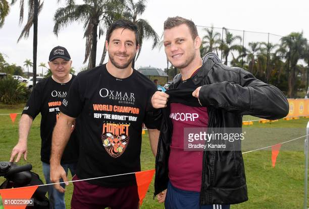 Ben Hunt meets with WBO Welterweight Boxing world champion Jeff Horn during a Queensland Maroons State of Origin training session at Sanctuary Cove...
