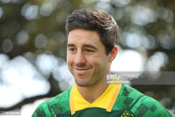 Ben Hunt of Australia speaks to the media during the Rugby League World Nines media opportunity at the Royal Botanic Gardens on October 16, 2019 in...