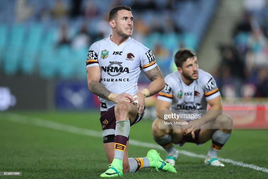 Ben Hunt of the Broncos and Darius Boyd of the Broncos look dejected after defeat during the round 21 NRL match between the Parramatta Eels and the Brisbane Broncos at ANZ Stadium on July 28, 2017 in Sydney, Australia.