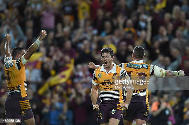 Ben Hunt of the Broncos celebrate victory after the NRL First Preliminary Final match between the Brisbane Broncos and the Sydney Roosters at Suncorp...
