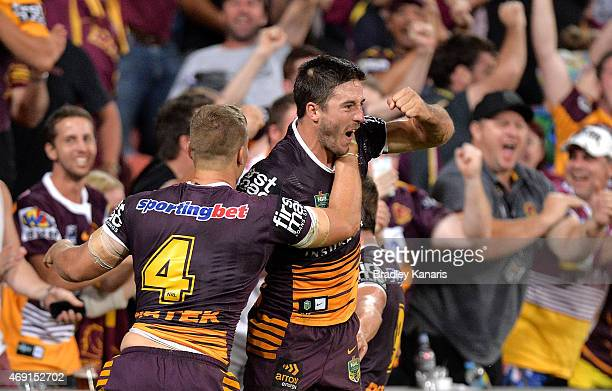 Ben Hunt of the Broncos celebrates after scoring the match winning try during the round six NRL match between the Brisbane Broncos and the Sydney...