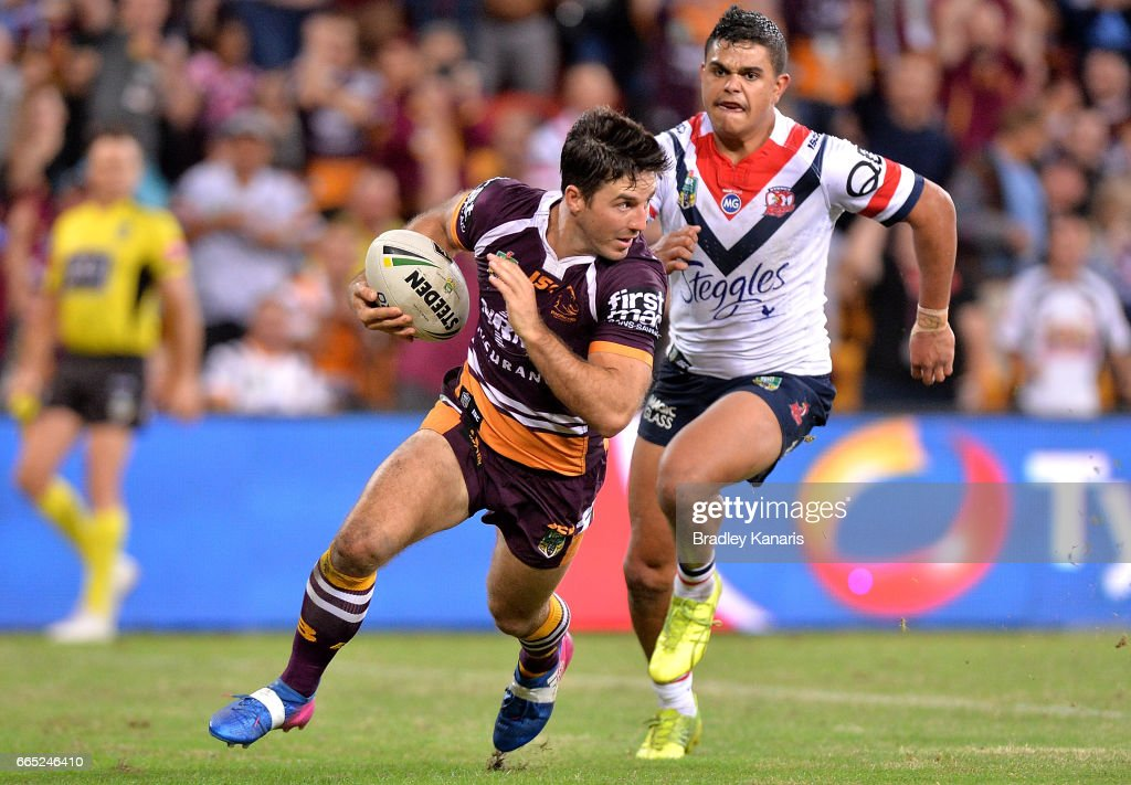 Ben Hunt of the Broncos crosses the try line but the try is disallowed because of a forward pass during the round six NRL match between the Brisbane Broncos and the Sydney Roosters at Suncorp Stadium on April 6, 2017 in Brisbane, Australia.