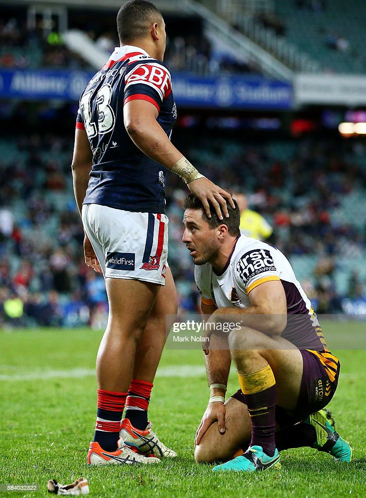Ben Hunt of the Broncos looks dejected during the round 21 NRL match between the Sydney Roosters and the Brisbane Broncos at Allianz Stadium on July 28, 2016 in Sydney, Australia.