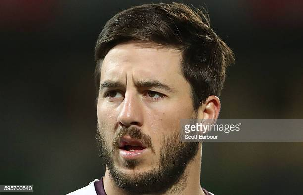 Ben Hunt of the Broncos looks on during the round 25 NRL match between the Melbourne Storm and the Brisbane Broncos at AAMI Park on August 26 2016 in...