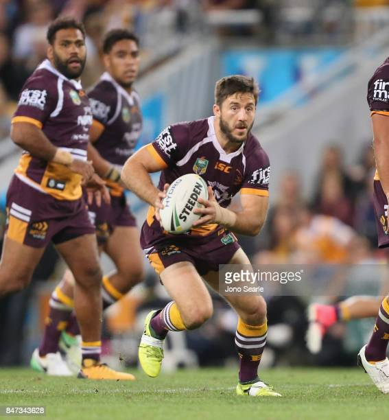 Ben Hunt of the Broncos looks to make a pass during the NRL Semi Final match between the Brisbane Broncos and the Penrith Panthers at Suncorp Stadium...