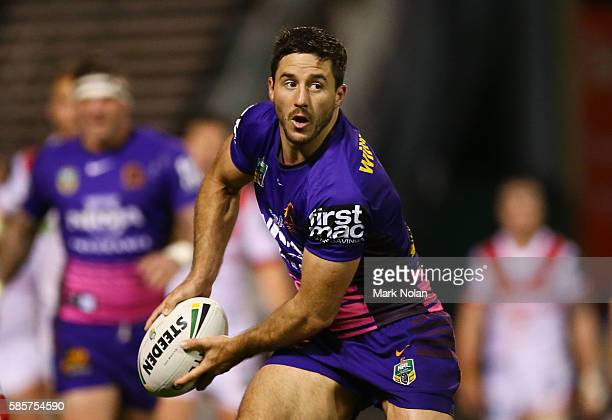 Ben Hunt of the Broncos looks to pass during the round 22 NRL match between the St George Illawarra Dragons and the Brisbane Bronocs at WIN Stadium...