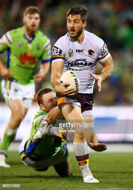 Ben Hunt of the Broncos makes a line break during the round 16 NRL match between the Canberra Raiders and the Brisbane Broncos at GIO Stadium on June...
