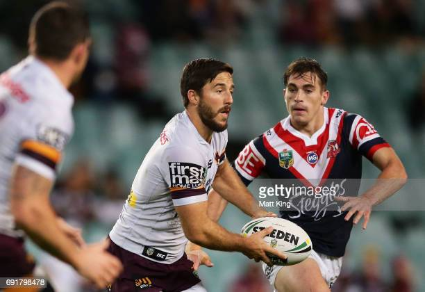 Ben Hunt of the Broncos runs with the ball during the round 13 NRL match between the Sydney Roosters and the Brisbane Broncos at Allianz Stadium on...