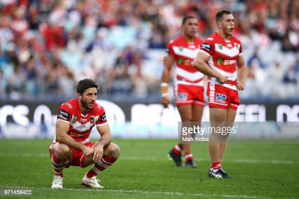 Ben Hunt of the Dragons catches his breath during the round 14 NRL match between the Canterbury Bulldogs and the St George Illawarra Dragons at ANZ...