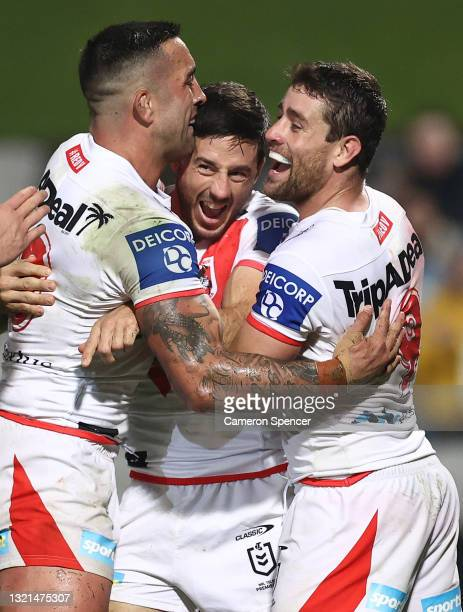 Ben Hunt of the Dragons celebrates after scoring a try during the round 13 NRL match between the St George Illawarra Dragons and the Brisbane Broncos...